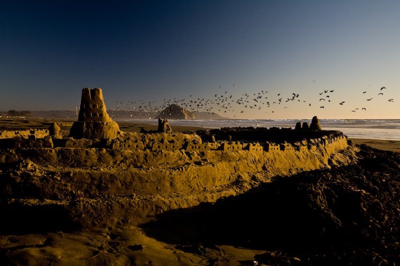 A sandcastle in a sunset with sea gulls overhead.