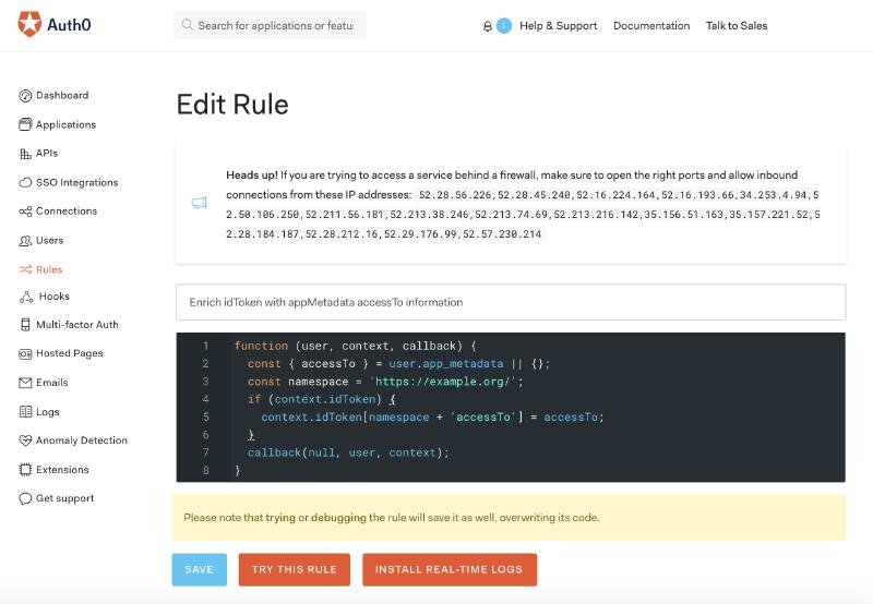 Screenshot of Auth0 rule setup.