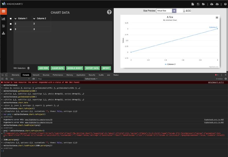 Screenshot of me debugging the Highcharts editor.
