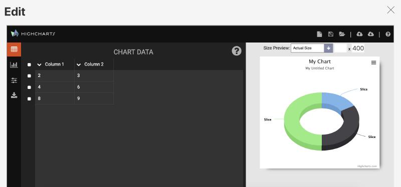 Screenshot of the embedded Highcharts Editor.