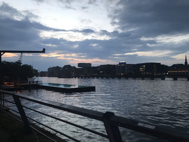 Looking at the river in Berlin in the evening.