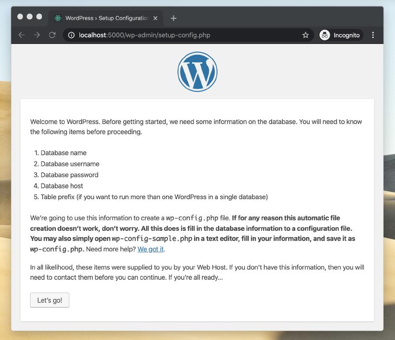 Screenshot of a browser page displaying install Wordpress.