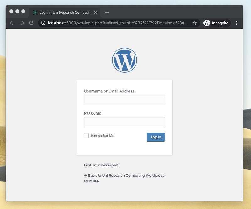 Screenshot of WordPress login screen.