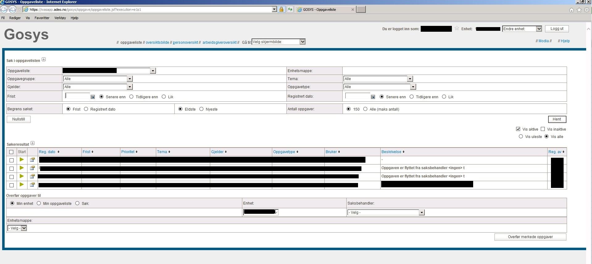 Skjermbilete av dashboardet til NAV systemet GoSyS