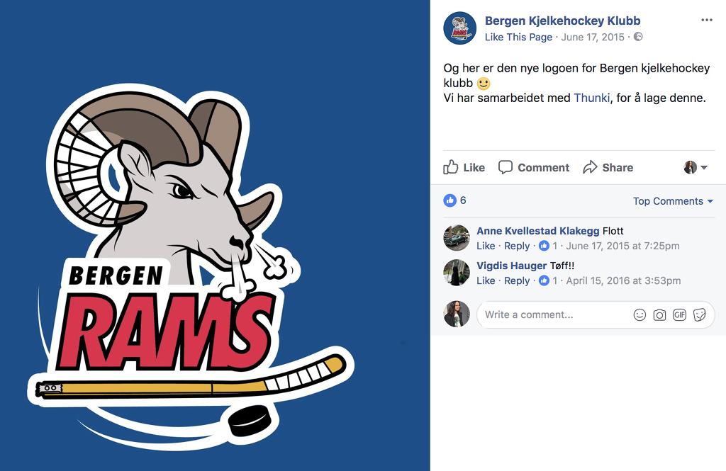 Skjermskudd av da Bergen kjelkehockeyklubb lanserte logoen sin på Facebook sida si.