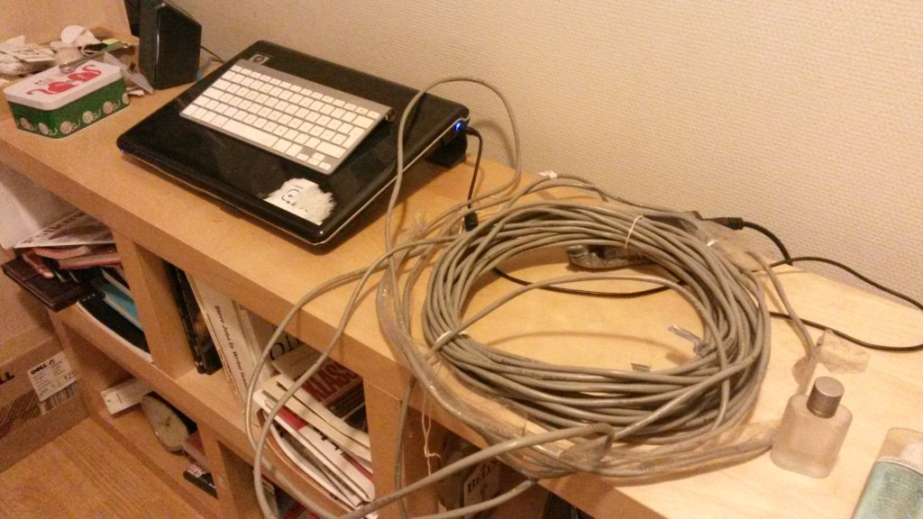 My laptop and my humongous network cable.